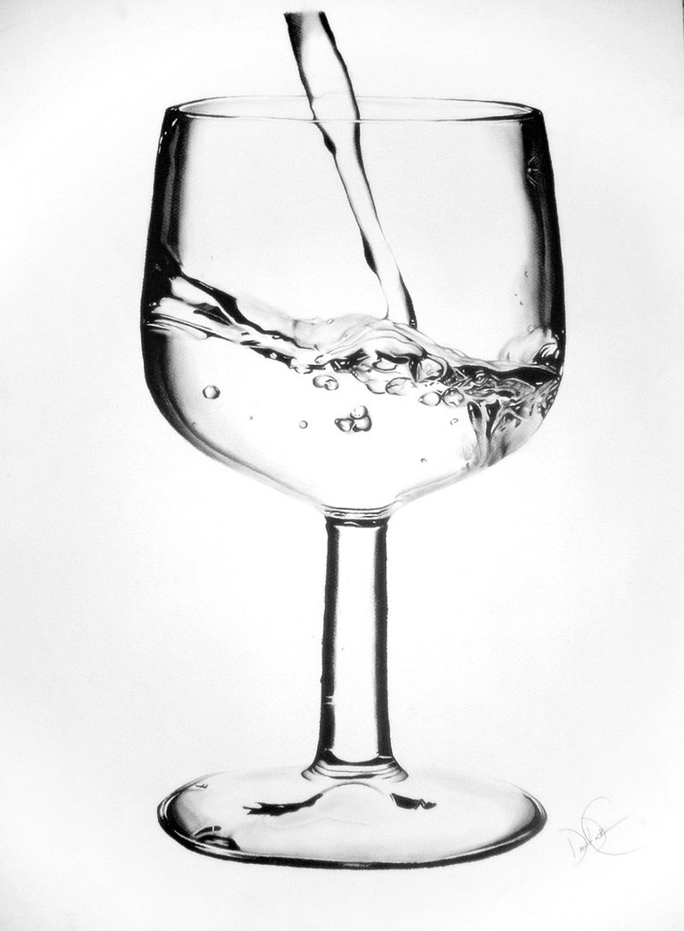 766x1043 Wine Glass Of Water Drawing By Desiangel1