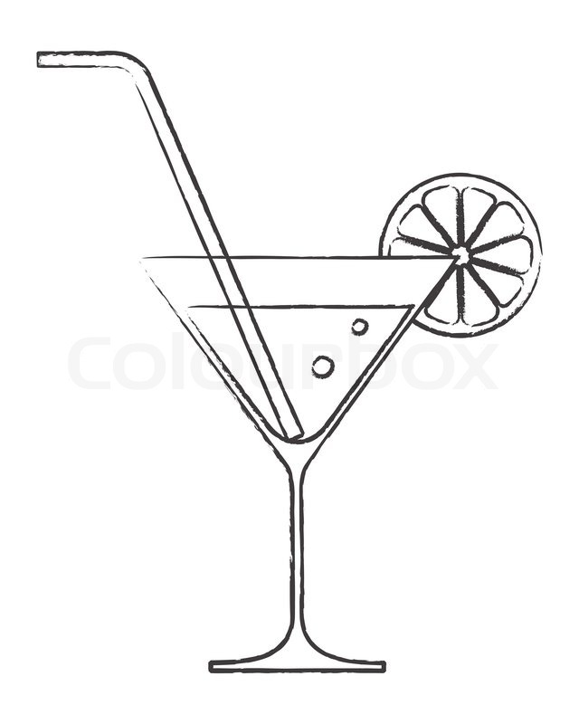 640x800 Cocktail Glass With Lemon And Drinking Straw Stock Vector