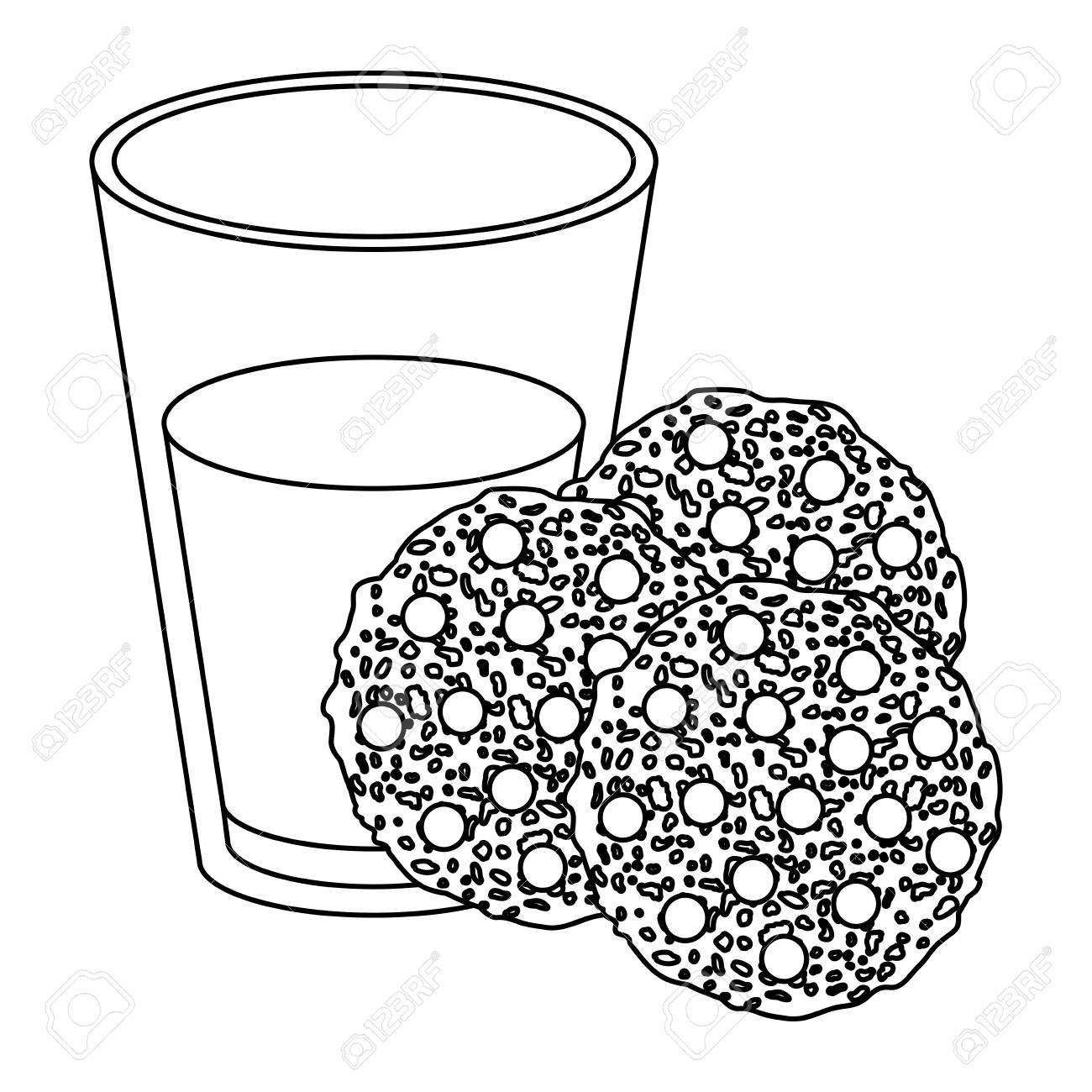 1300x1300 Chocolate Chip Cookies With Glass Of Milk Sketch Silhouette