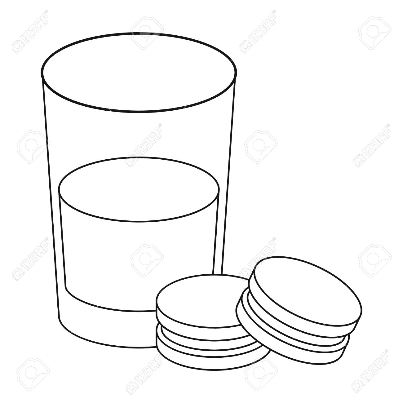 1300x1300 Glass Of Milk With Cookies Icon In Outline Style Isolated