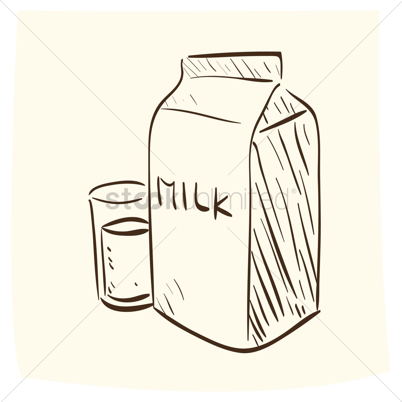 1300x1300 Glass Of Milk With A Milk Pack Vector Image