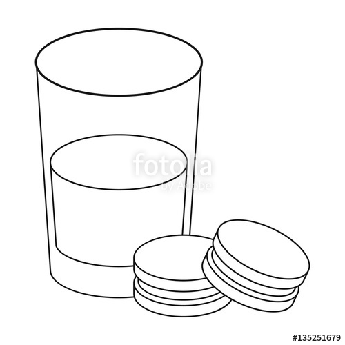 500x500 Glass Of Milk With Cookies Icon In Outline Style Isolated On White