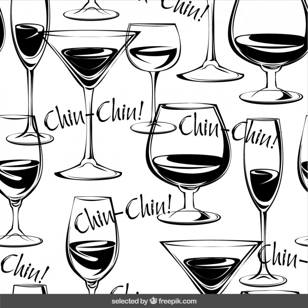626x626 Glasses Of Wine Hand Drawn Pattern Vector Free Download