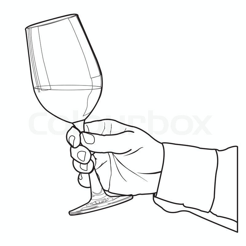 800x800 Hand Holding Glass Of Wine Outline Vector Stock Vector Colourbox