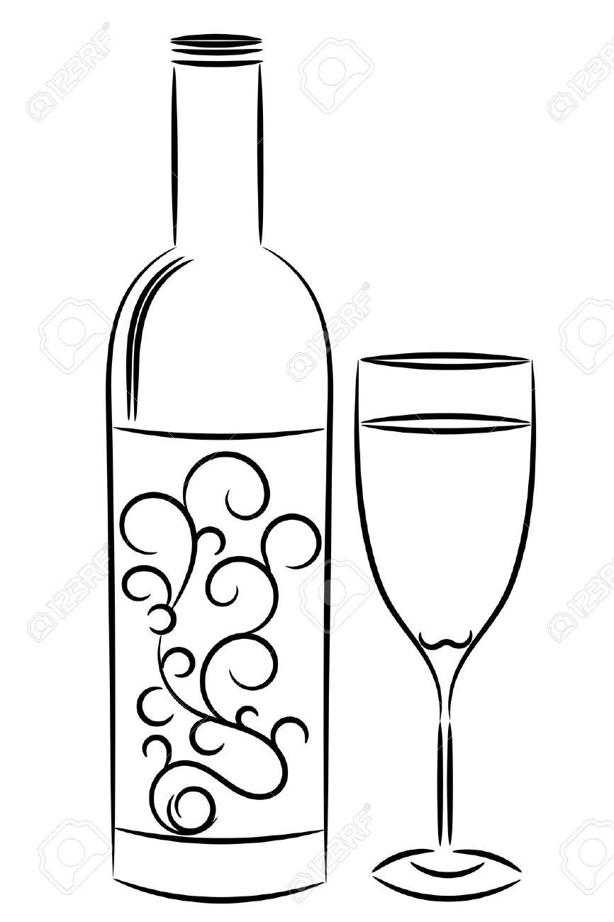 866x1300 Drawing Of Wine Bottle Drawn Glass Wine Bottle