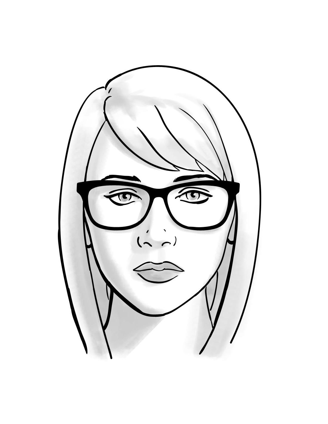 1100x1424 Oblong Face Shape Female Sketch