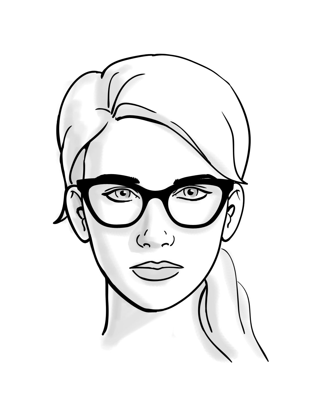 1100x1424 Oblong Face Shape Female Sketch Face Shape Sketch Face Shape Guide