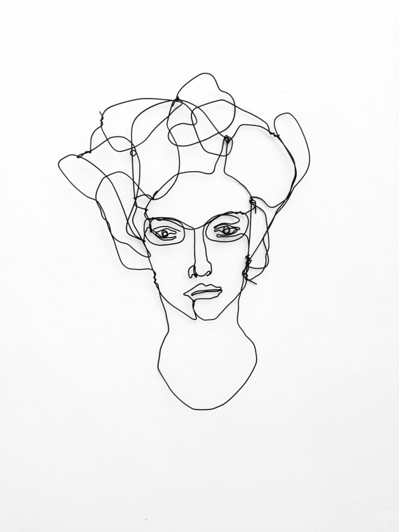 570x760 Wire Wall Art Unusual Portrait Of Woman With Glasses Face