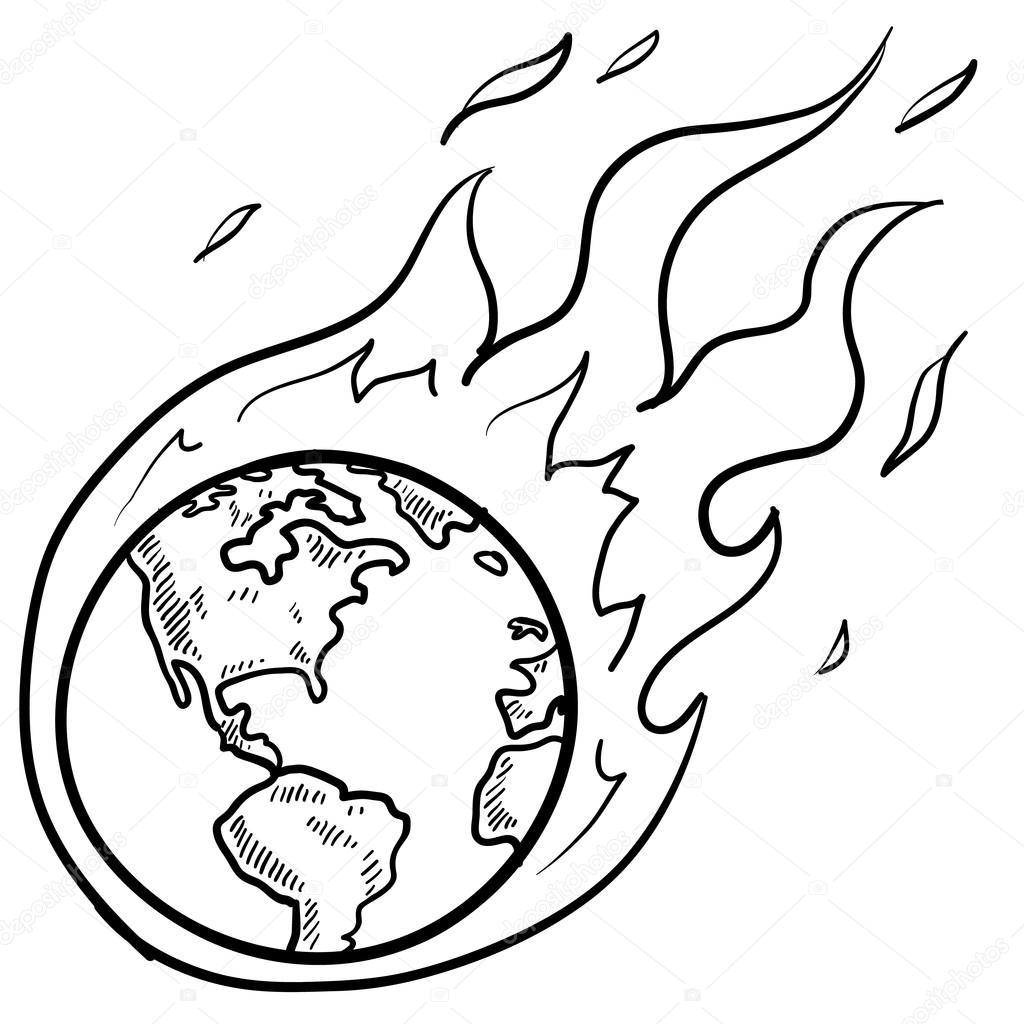 1024x1024 Drawing Of Global Warming Global Warming Crisis Sketch Stock