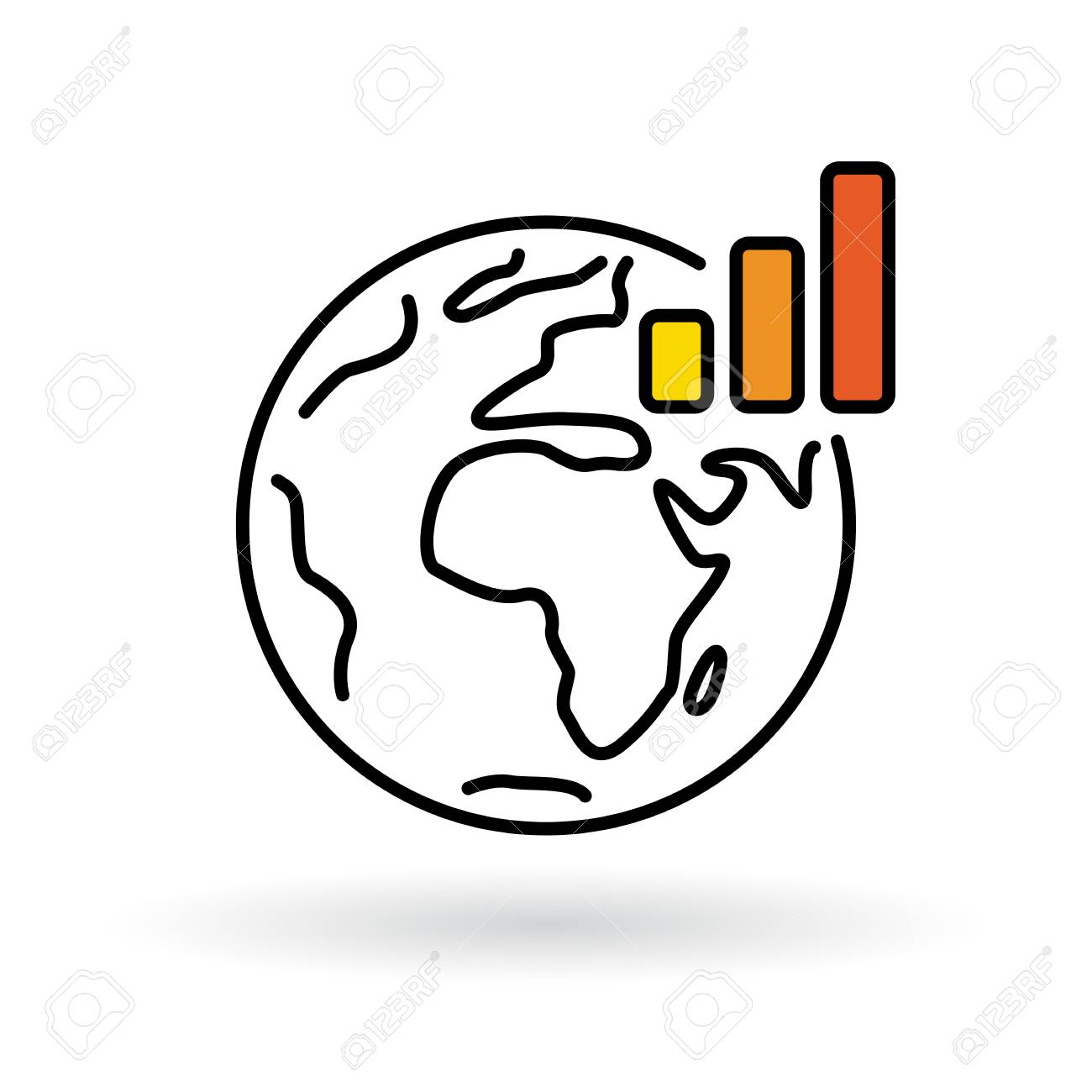 1300x1300 Simple World With Global Warming Chart Icon. Earth And Climate