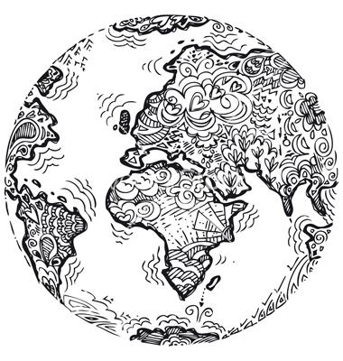 380x400 Drawn Globe Doodle