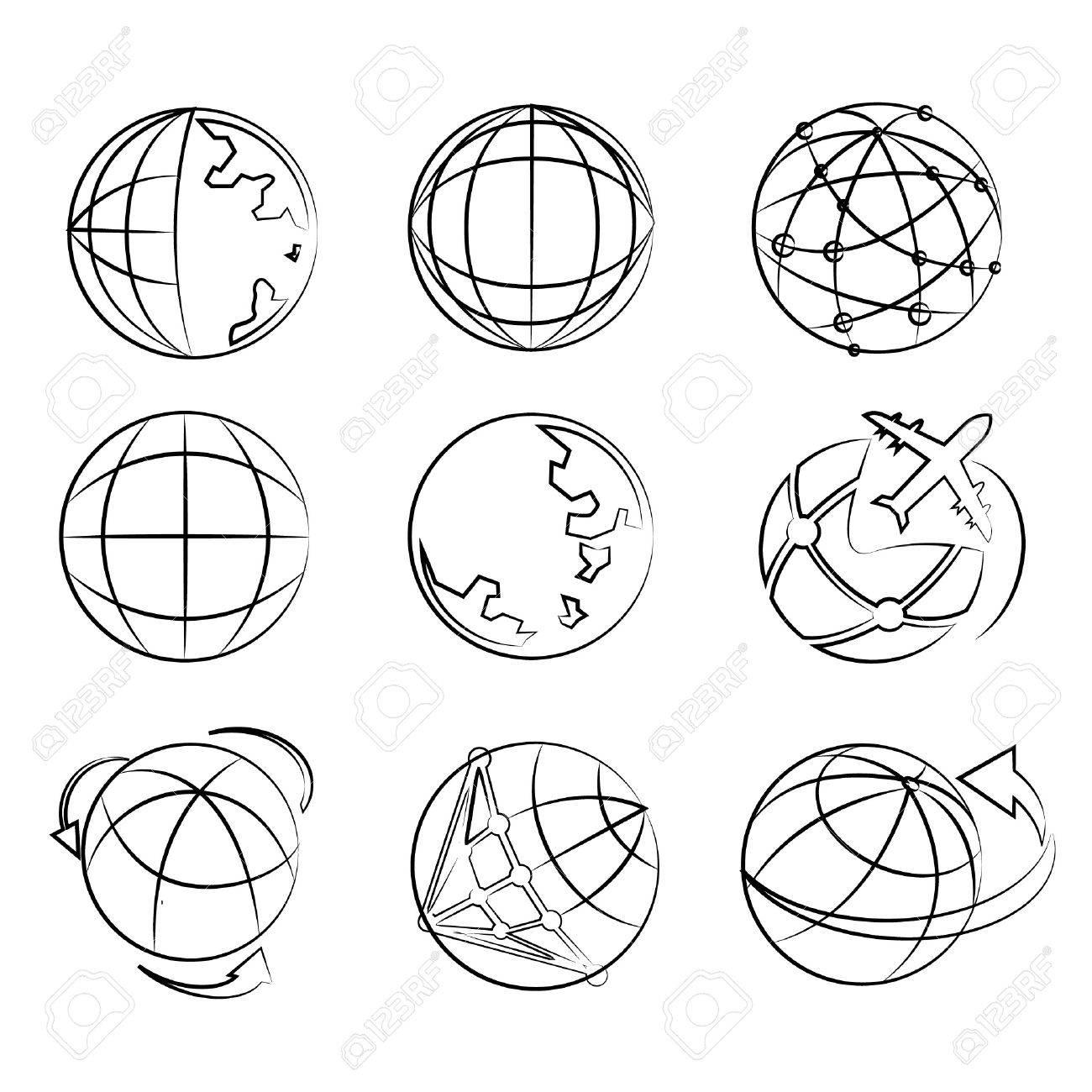 1300x1300 Globe Drawing Line Set, World Map Sketch Line Royalty Free