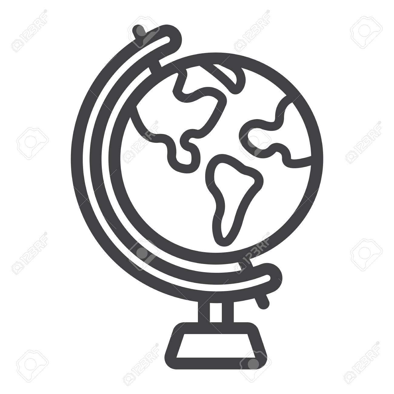1300x1300 Globe Line Icon, World And Geography, Vector Graphics, A Linear