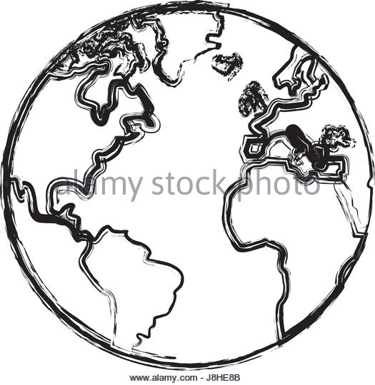525x540 Line Drawing World Map Stock Vector Images