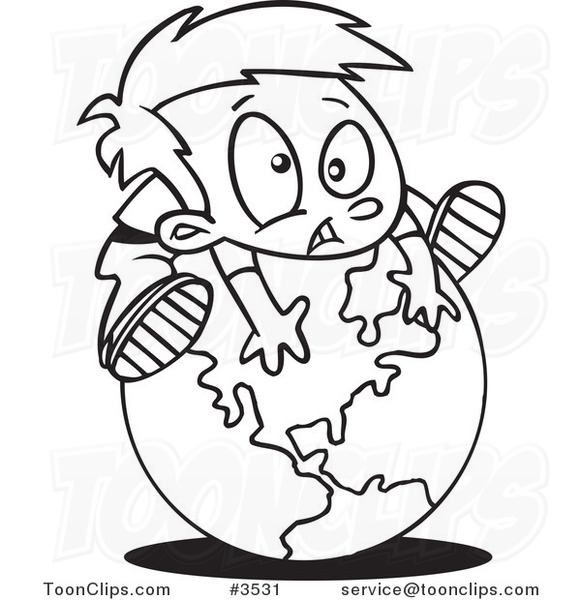 581x600 Cartoon Black And White Line Drawing Of A Boy On Top Of A Globe