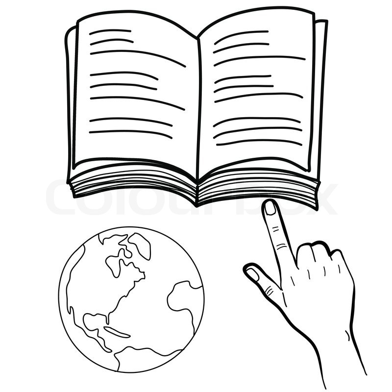 800x800 Hand Drawing Hand Pointing Book And Globe Stock Vector Colourbox