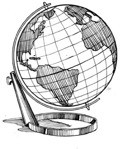 431x500 2.75 Inch X 2 Inch Acrylic Keyring Line Drawing Globe
