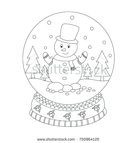 450x470 Snowman Snow Globe Coloring Page As Well As Globe Coloring Globe