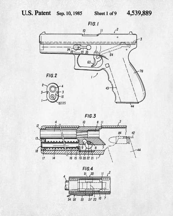570x713 Glock Pistol Patent Handgun Blueprint Firearm Poster Guns