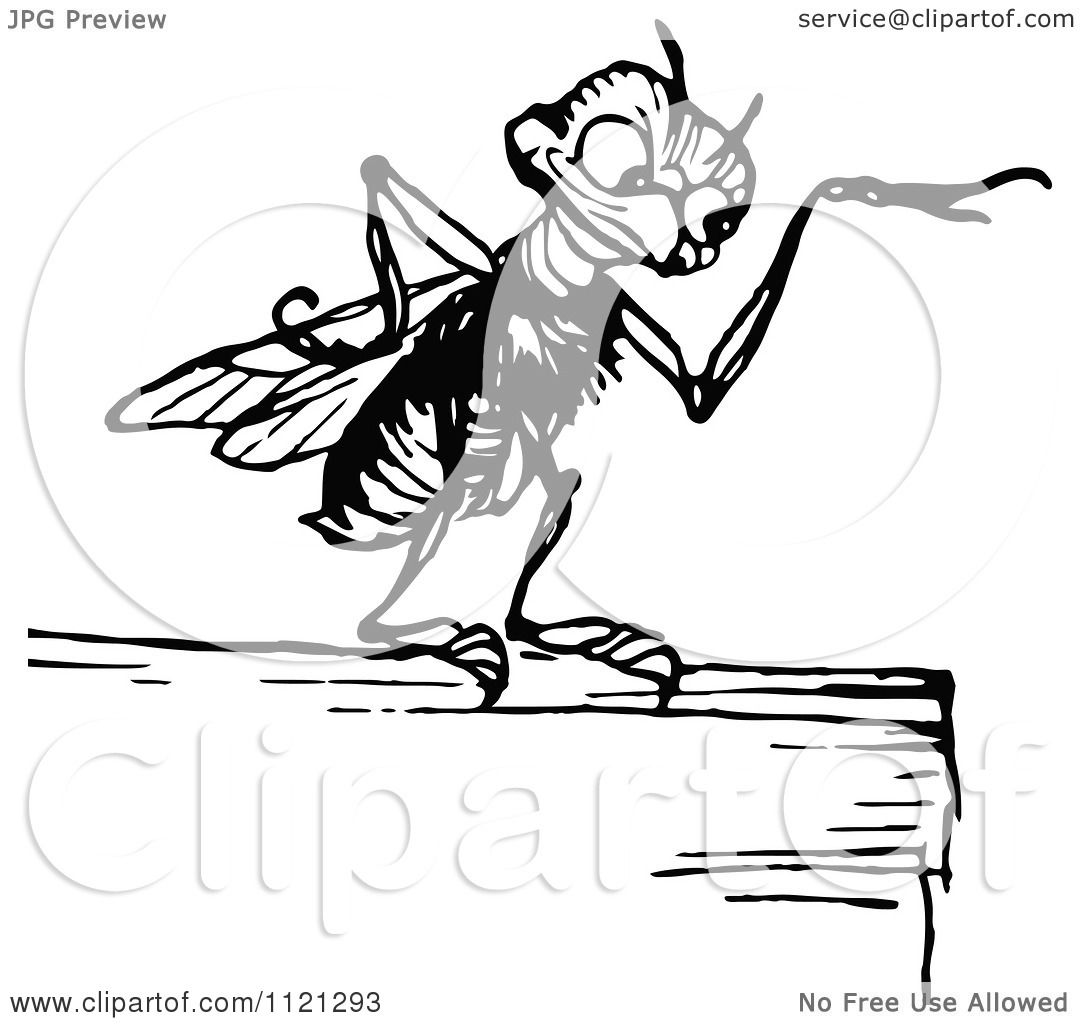 1080x1024 Clipart Of A Retro Vintage Black And White Gnat Pointing
