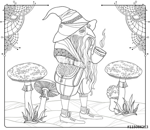500x435 Vector Mythological Line Drawing Gnome Or Dwarf With Tobacco Pipe