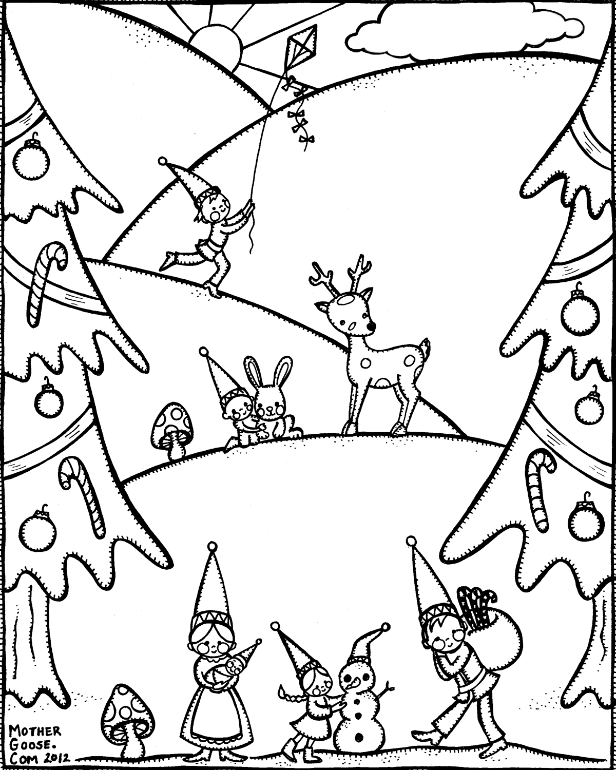 1200x1500 Winter Gnome Family Coloring Pages