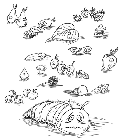 416x480 Very Hungry Caterpillar With Fruits And Foods Coloring Page Free