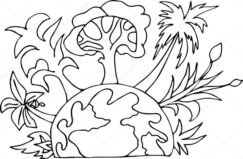 1023x668 The Planet Earth Hand Drawn Go Green Eco Poster. Stock Vector