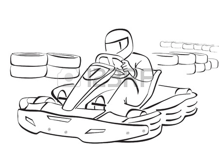 450x318 Go Kart, Black And White Illustration Royalty Free Cliparts