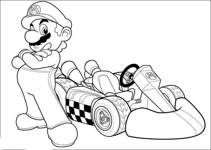 736x525 Mr Mario Posing With His Winner Go Kart Coloring Pages