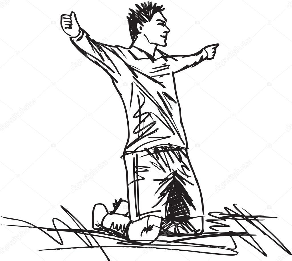 1023x913 Sketch Of Happy Soccer Player Is Celebrating A Goal. Vector Illu
