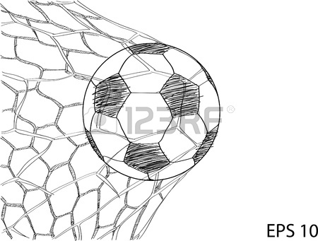 450x341 Soccer Football In Goal Net Sketched Up Royalty Free Cliparts