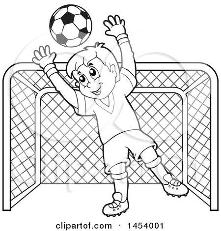 450x470 Clipart Of Blacknd White Lineart Soccer Goalie Boy Blocking
