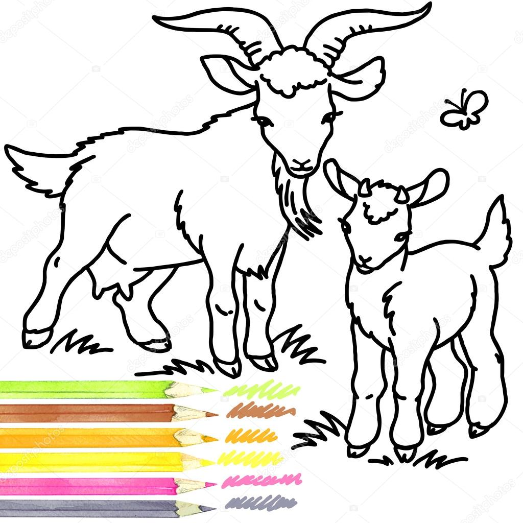 1024x1024 Goat. Coloring Book Goat. Goat Outline Drawing. Goat Cartoon