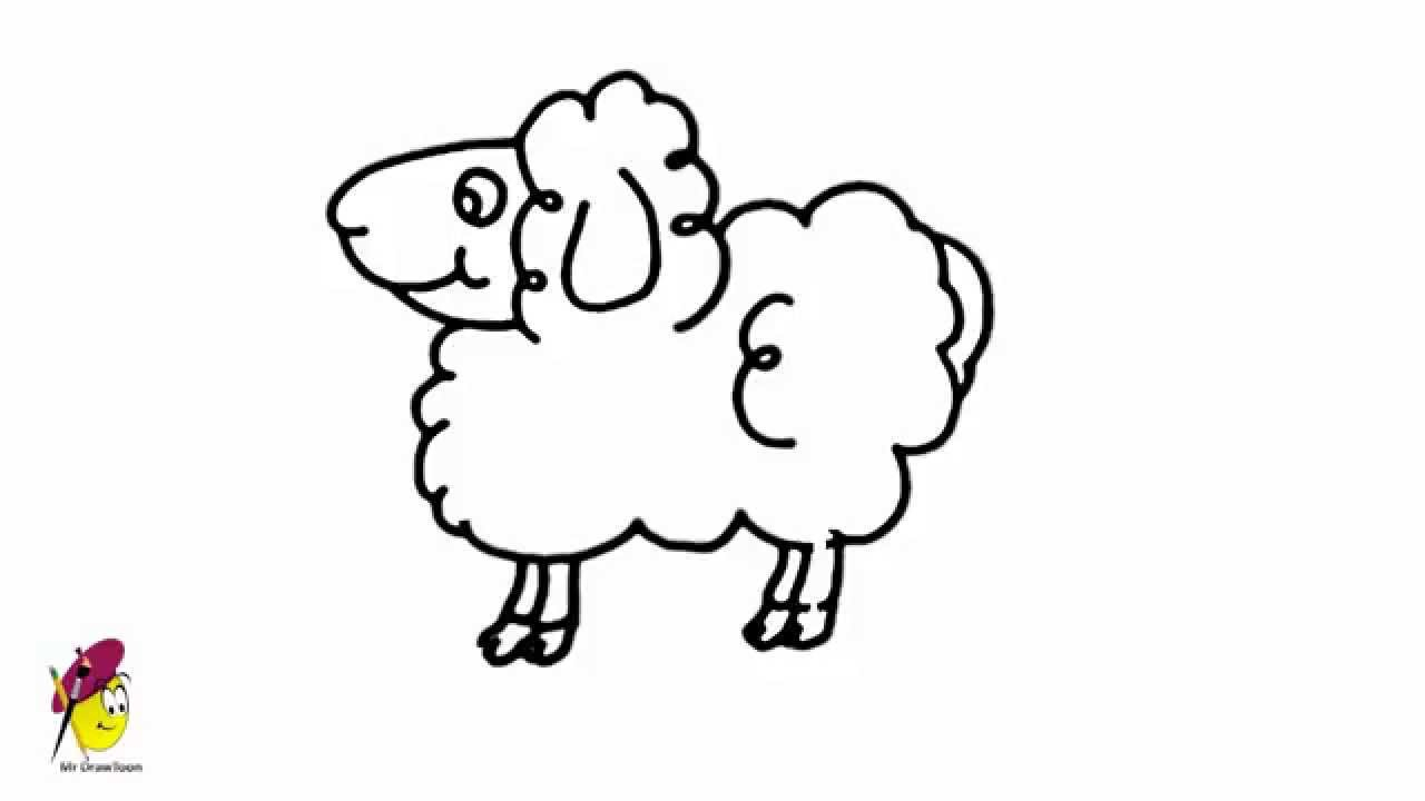 1280x720 Simple Drawing Of A Sheep Goat Cartoon