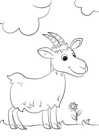 340x480 Cute Cartoon Goat Coloring Page Free Printable Pages