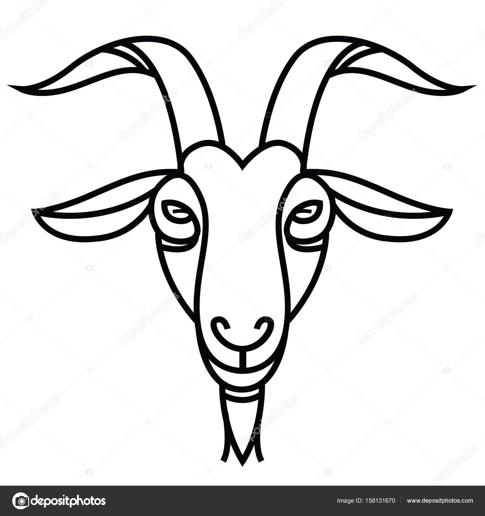 1600x1700 Linear Stylized Drawing Goat's Head Stock Vector Annasuchkova