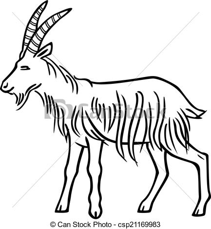 433x470 Vector Drawing Of A Billy Goat With Straight Horns And Long