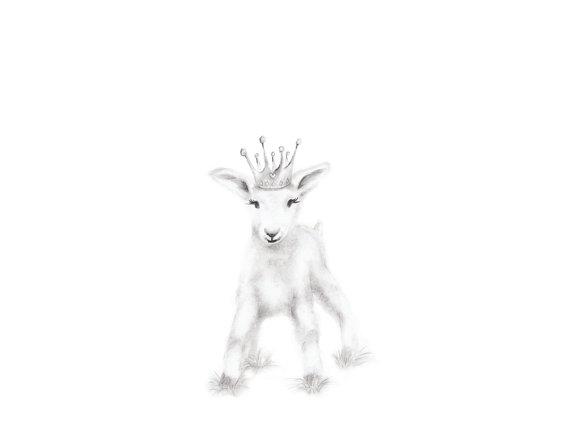570x440 Goat Nursery Art Print Farm Animal Art Baby Animal Drawing