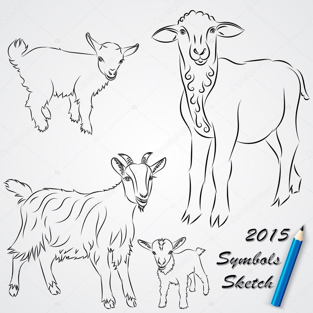 1024x1024 Vector Sketch Drawing Of Goats, Chinese 2015 New Year Symbol