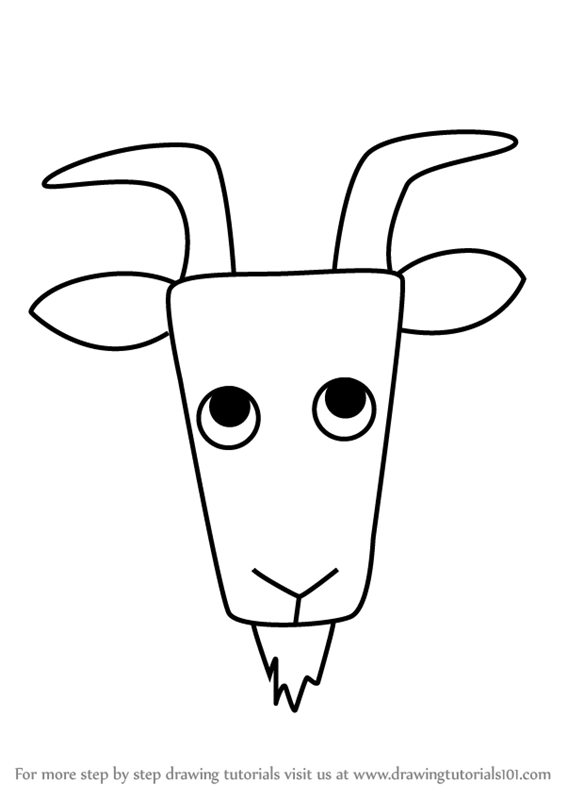 567x800 Learn How To Draw A Wild Goat Face For Kids (Animal Faces For Kids