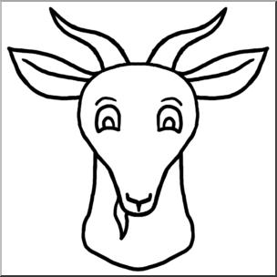 304x304 Clip Art Cartoon Animal Faces Goat Bampw I Abcteach