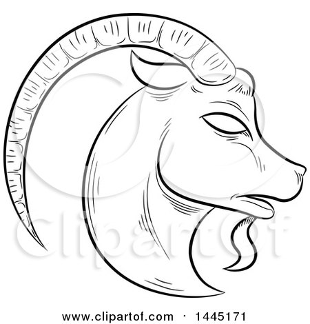 450x470 Clipart Of A Sketched Black And White Astrology Zodiac Capricorn