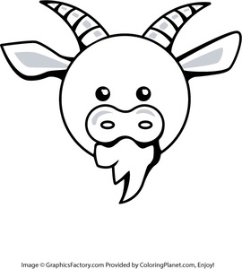 270x300 Free Cartoon Goat Head Coloring Page 6 From Coloring