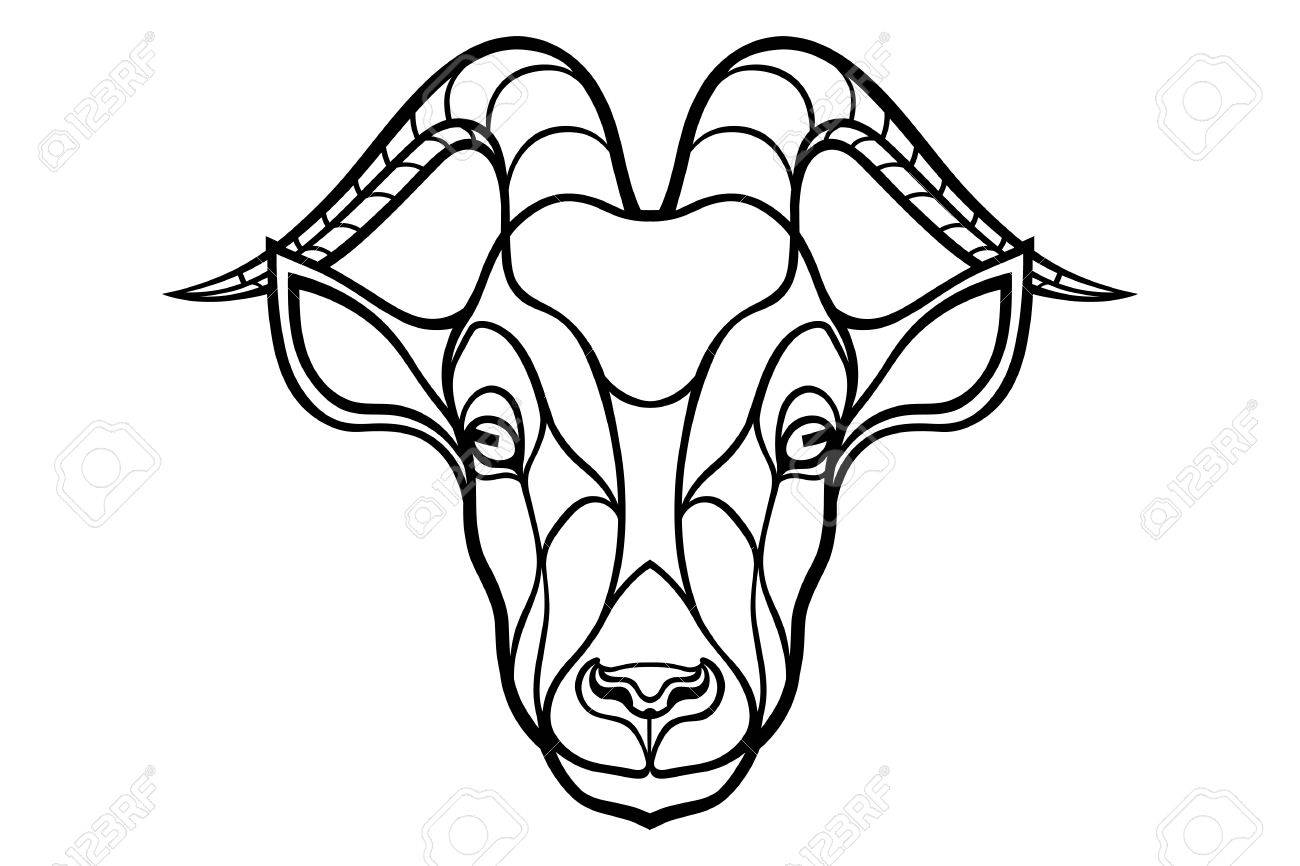 1300x866 Goat Head Coloring Silhouette On White Background. Royalty Free