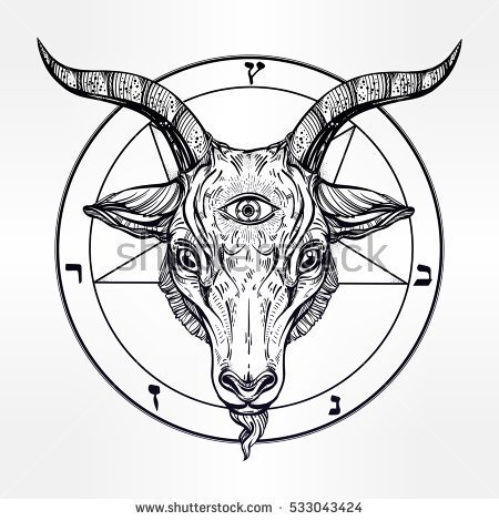 450x470 Pentagram With Demon Baphomet. Satanic Goat Head With Third Eye