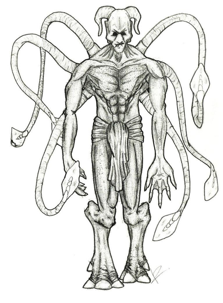 767x1041 Alien Demon Concept Sketch By Goat Head