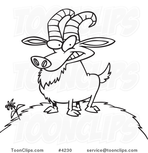581x600 Cartoon Black And White Line Drawing Of A Billy Goat On A Hill