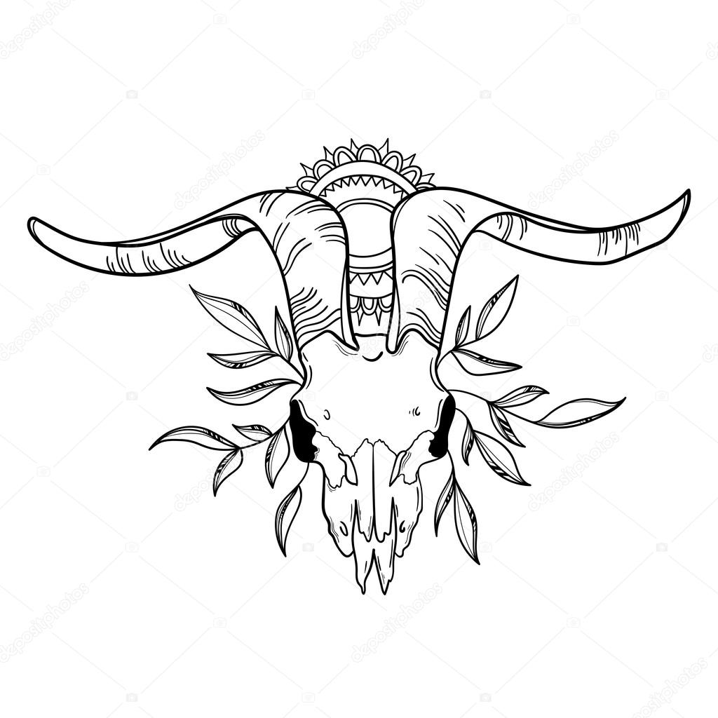 1024x1024 Goat Skull With Leaves Stock Vector Maria Letta