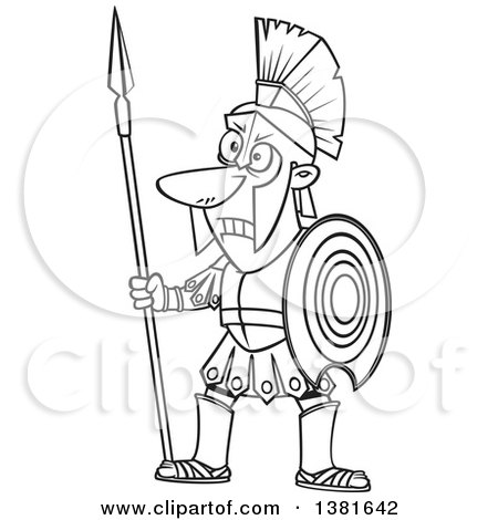 450x470 Clipart Of A Cartoon Black And White Greek God Of War, Ares,